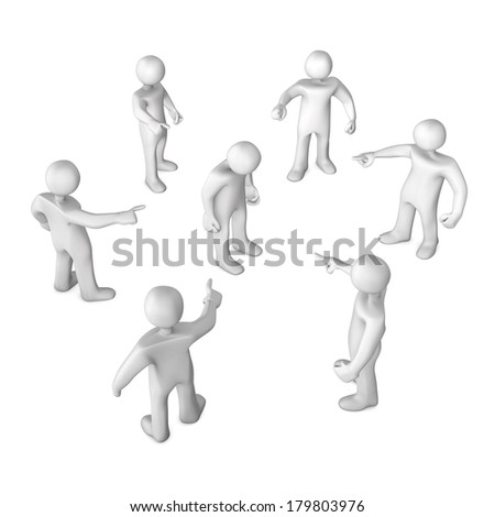 White cartoon characters slanders. 3d illustration with white background. - stock photo