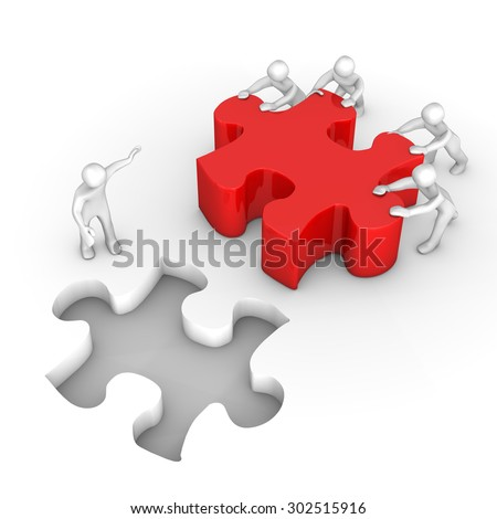 White cartoon characters with red puzzle on the white. 3d illustration.