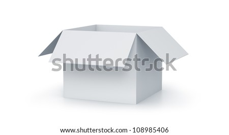 White cartoon cube box. High resolution 3D illustration with clipping paths. - stock photo