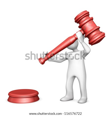 White cartoon with a judge hammer on the white background. - stock photo