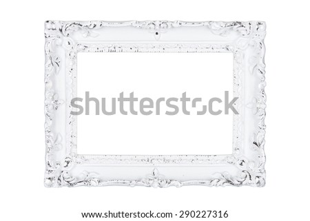 White carved picture frame isolated over white with clipping path. - stock photo