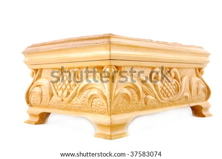 White casket from a tree on a white background - stock photo