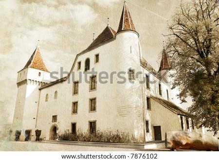 white castle - toned picture in retro style - stock photo
