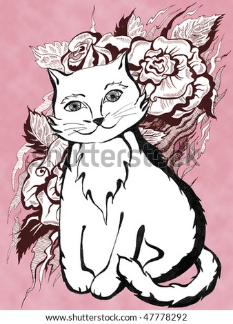 White cat on pink background.