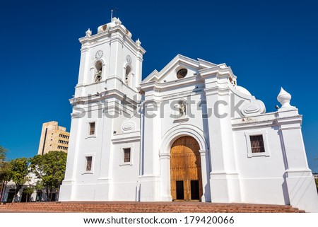 White cathedral of Santa Marta, Colombia with a beautiful deep blue sky - stock photo