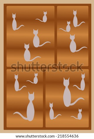 White cats silhouettes in a house of cats - stock photo