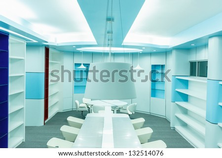 white ceiling lamp in the empty library - stock photo