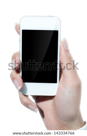 white cell phone in hand - stock photo