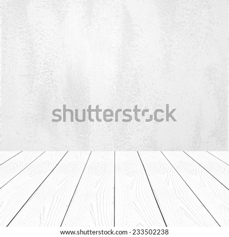 Captivating White Cement Wall And Perspective White Wood Background,product Display,  Template, Room,