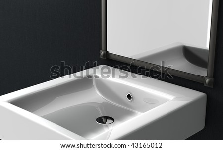 white ceramic basin in bathroom - stock photo