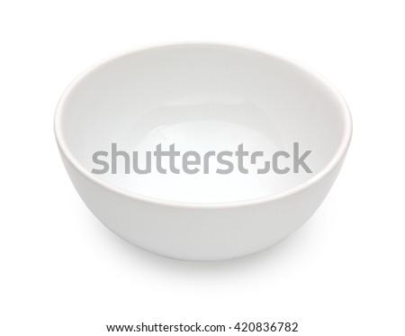 White ceramic bowl isolated on white background - stock photo