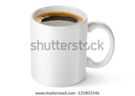 White ceramic coffee mug. Isolated on a white. - stock photo