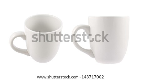 White ceramic cup isolated over white background, set of two foreshortenings - stock photo