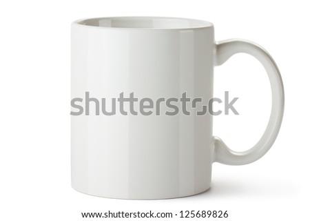 White ceramic mug. Isolated on a white. - stock photo