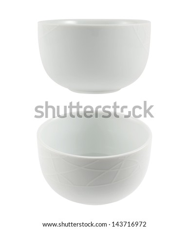 White ceramic piola bowl isolated over white background, set of two foreshortenings