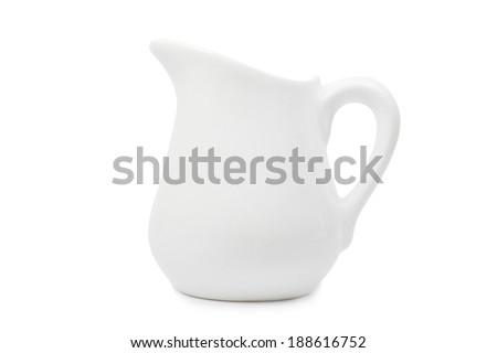 White ceramic pitcher isolated on white - stock photo