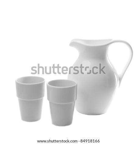 white ceramic pitcher isolated on white