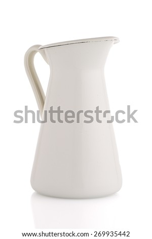 White ceramic pitcher isolated on white background. - stock photo
