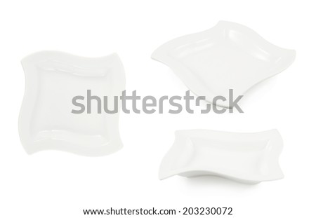 White ceramic plate isolated over the white background, set of three foreshortenings