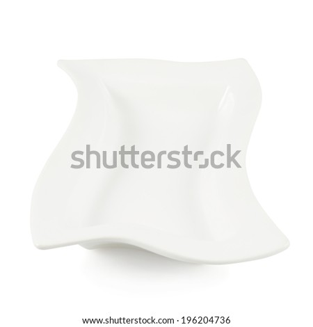 White ceramic plate isolated over the white background, side view