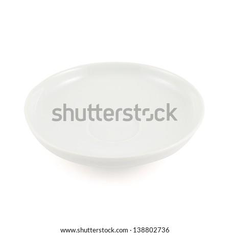 White ceramic plate isolated over white background - stock photo