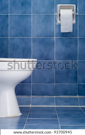White ceramic sanitary ware and tissues in Blue bathroom - stock photo