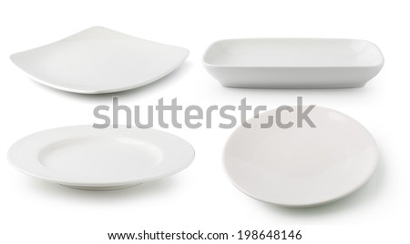 white  ceramics plate isolated on white background - stock photo