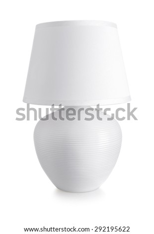 White ceramics table lamp isolated on white - stock photo