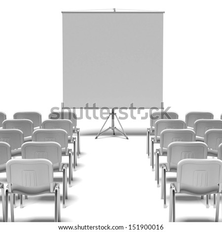 White chairs and screen - stock photo