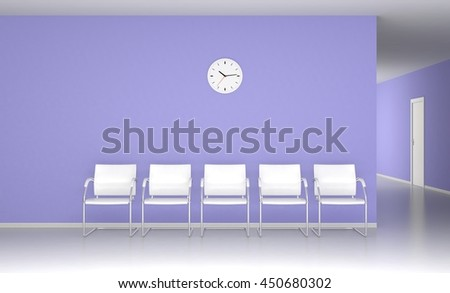 White chairs in the blue waiting room 3D render