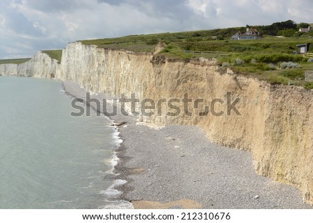 White Chalk Cliffs the Seven Sisters at Birling Gap near Eastbourne in East Sussex. England
