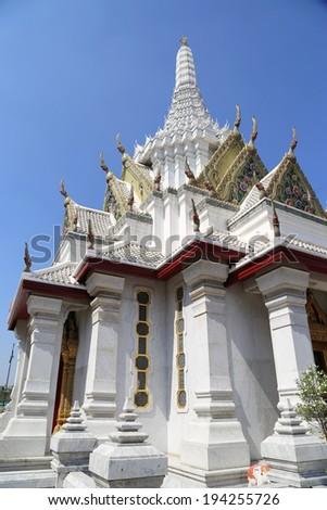 White Chapel in City Pillar Shrine Bangkok Thailand - stock photo