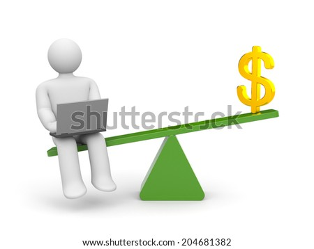 White character between work and money. Work outweighs - stock photo