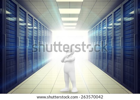 White character thinking against digitally generated server room with towers