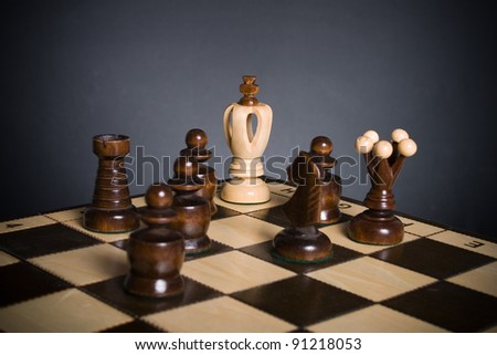 White chess king is trapped. - stock photo