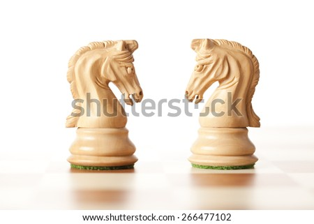 white chess knights,meeting concept - stock photo