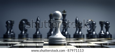 White chess pawn background 3d illustration. high resolution - stock photo