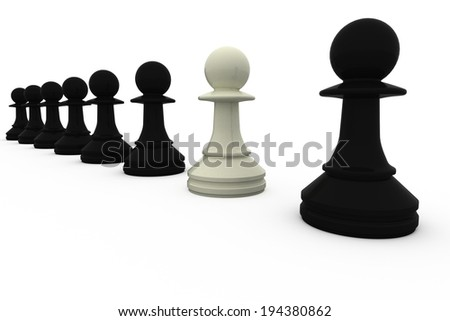 White chess pawn standing with black pieces on white background