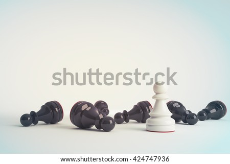 White chess pawn win vs black pawns. Business concept of leadership. Chess game over. 3d rendering. Toned image. - stock photo