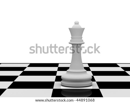 White chess queen on chessboard on white background. High quality 3d render. - stock photo