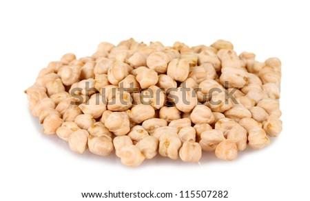 White chickpeas isolated on white - stock photo