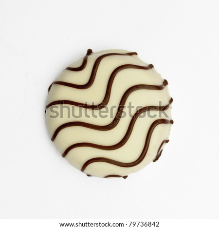 White chocolate covered biscuit - isolated on white - stock photo
