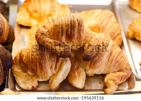 white chocolate croissants - stock photo