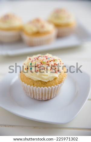 White Chocolate Cupcakes  - stock photo