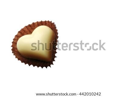 White chocolate hearts isolated on white background - stock photo