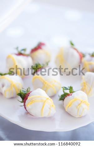 White Chocolate Strawberries - stock photo