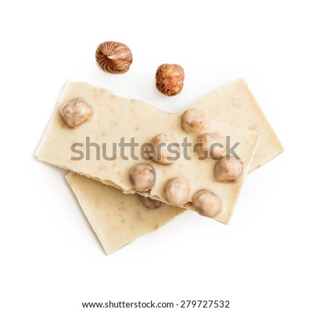 white chocolate with nuts isolated on white background