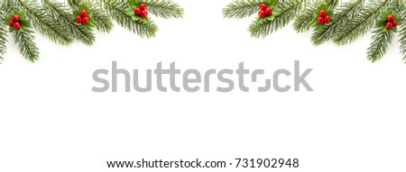 White Christmas And New Year Holiday Banner Background Top View Border Design With Green Pine