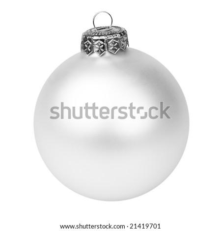 White Christmas bauble on white background - stock photo