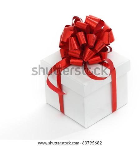 white christmas gift - stock photo